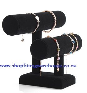 Two Tier Black Velvet Bracelet Display