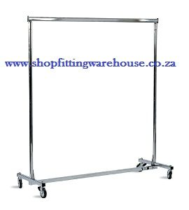 Steel Single Clothing Rail with Wheels